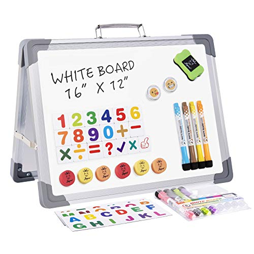 """JOYOOSS Magnetic Small Dry Erase Whiteboard, 16"""" x 12"""" Foldable Desktop Portable Whiteboard Easel with Magnet Markers Eraser for Home, Office & School"""