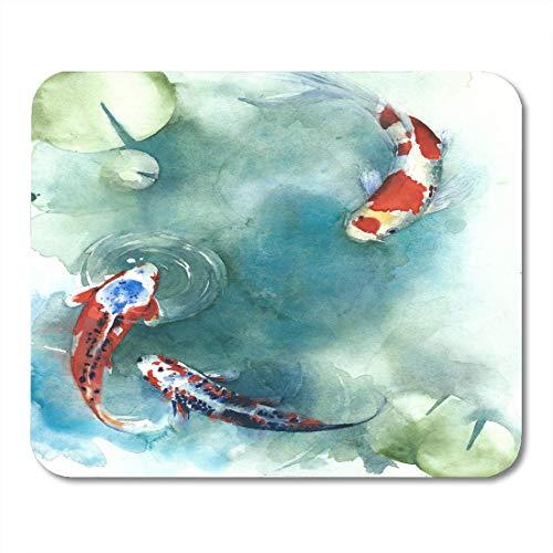 Mausemat Buntes Koi-Fisch-Japanisches Symbol Im Teich Aquarell-Malerei Orange Karpfen Arbeiten Spezielles Mousepad-Gummi-Laptop-Spielmatten-Schreibtisch Personalisierte Langlebige