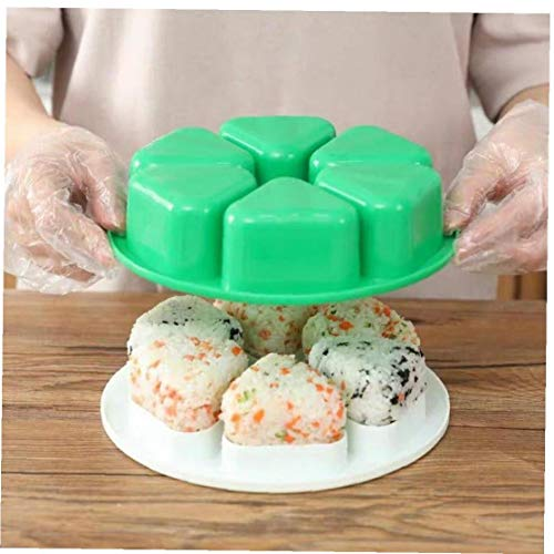 AMOYER 1pc 6 Trous Moule Sushi Onigiri Boule De Riz Bento Press Maker Mold Triangle Sushi À Un Moment Boule De Riz Sushi Moule Accessoires De Cuisine Verte