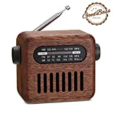 Retro Radio Bluetooth Speaker-Vintage Walnut AM/FM/WB Portable NOAA Weather Radio with Old Fashioned Style, Bluetooth 4.2 Wireless Connection, Loud Volume, AUX in for Home, Travel, Office