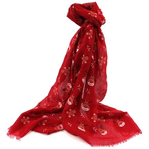 Sciarpa con disegni di renne e omini di pan di zenzero, accessorio divertente e natalizio, da donna, rossa