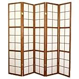 PEGANE Biombo japonés Shoji de Madera castaño Oscuro de 5 Paneles