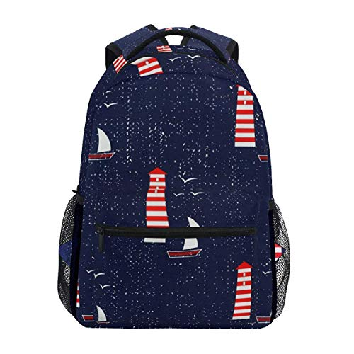 Backpack Shoulder Bag,Navy Sea Sailboat Lighthouse Seagull Nautical Pattern College School Book Bag Store School Bags 40cm(H) x29cm(W)