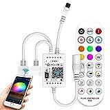 Controlador de tiras LED WiFi RGB con mando a distancia de música por infrarrojos de 24 teclas para tiras 5050, 3528, compatible con Alexa, Google Assistant