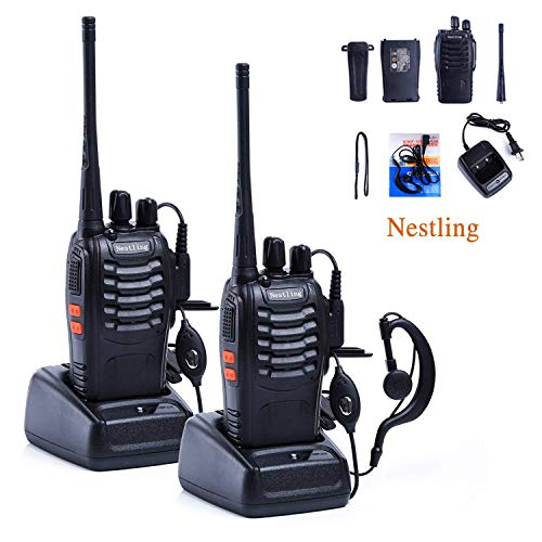 Galwad-888S Emergency Communication Radio 2pcs Walkie Talkie 16 Channels Signal Band UHF 400-470MHz Portable Ham CB Two Way Radio Long Range and Reachargeble with Earpieces with Built in LED Torch