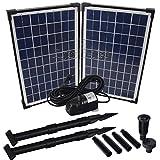 Agora-Tec® AT-20W - Pompa solare per laghetto da giardino o fontana, 20 Watt, altezza massima: 1360 l/h, altezza della fontana: 2,10 m