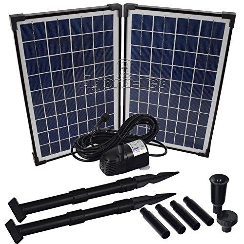 Agora-Tec Pompe solaire pour étang ou fontaine 20 WDébit max. 1360 l/h Hauteur fontaine 2,10 m