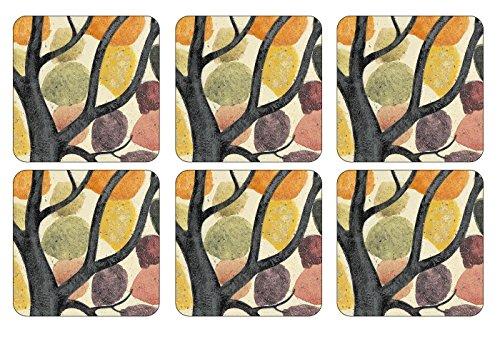 Pimpernel Untersetzer klein, 10,5x 10,5cm, MDF mit Kork-Rückseite, Zweig-Motiv, Mehrfarbig, 6 Stück