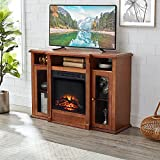 GOOD & GRACIOUS Electric Fireplace TV Stand, Fit up to 55' Flat Screen TV with Two Cabinet and Three Open Shelves Entertainment Center for Living Room, Cherry