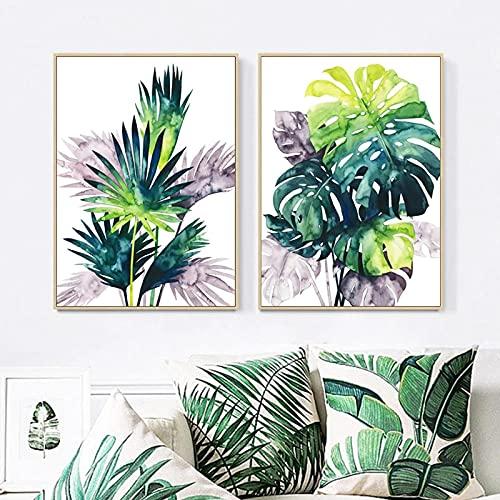 VVBGL Lienzo de Planta Verde, Pintura, Arte, Hoja de Tortuga Tropical, impresión en Color, póster, decoración de Interiores, Pintura, Cuadros de Pared de habitación, 50x70cmx2 sin Marco