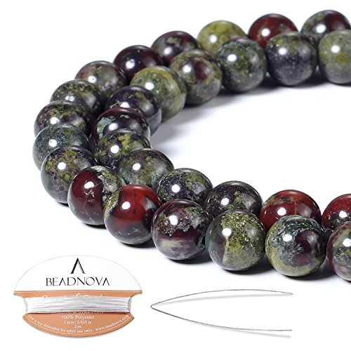 BEADNOVA Natural Dragon Blood Jasper Beads Natural Crystal Beads Stone Gemstone Round Loose Energy Healing Beads with Free Crystal Stretch Cord For Jewelry Making (8mm, 45-48pcs)