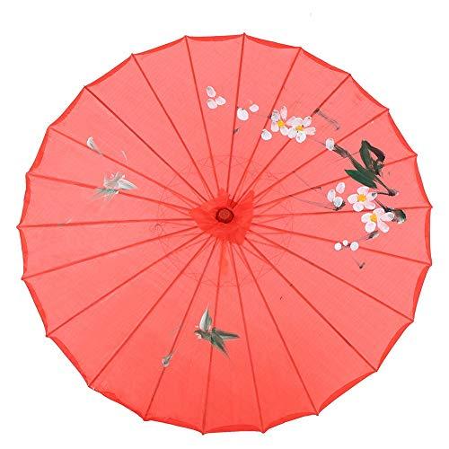 HERCHR Paraguas de Papel engrasado, sombrilla China de 21,3 Pulgadas para decoración de Fiestas de Boda, Accesorios de Baile clásico, fotografía, Cosplay(Rojo)