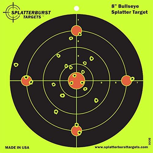 Splatterburst Targets - 8 inch Bullseye Reactive Shooting Target - Shots Burst Bright Fluorescent Yellow Upon Impact - Gun - Rifle - Pistol - Airsoft - BB Gun - Pellet Gun - Air Rifle (100 Pack)