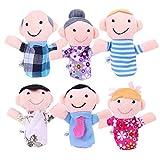 Hommyベビー用品 赤ちゃん おもちゃ 6体 指人形セット 家族 縫いぐるみ  家族みんなで指人形 物語 童謡 おとぎ話 教育ハンドトイ 布の人形 フィンガー