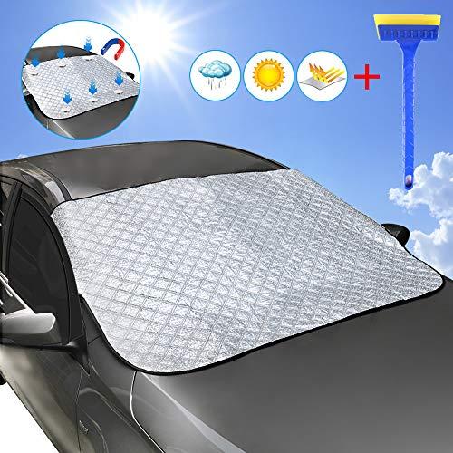 DEKINMAX Scheibenabdeckung Frontscheibenabdeckung Auto Windschutzscheibe Abdeckung Magnetische Magnet Fixierung Sonnenschutz UV-Schutz, Sonne, Staub