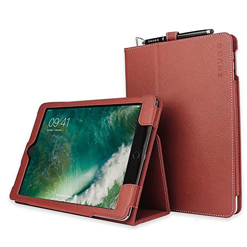 """Snugg iPad Air 3 (2019) / iPad 10.2"""" (8th & 7th Gen) / iPad Pro 10.5"""" Leather Case, Flip Stand Protective Cover - Dusty Cedar Red"""