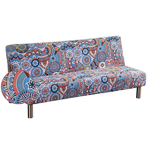 Fundas de Sofá Sin Brazos Plegable Fabric Poliéster Spandex Protector de Muebles Cubre Sofa Cubierta para Sofa Cama Fundas de Clic-clac Elástica Azul Cielo Claro Estilo Bohemia