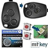 Auto Llave Mando a distancia 1x Carcasa 3botones + 3x mikrotaster + 1x CR2016batería para Renault y Dacia/Opel