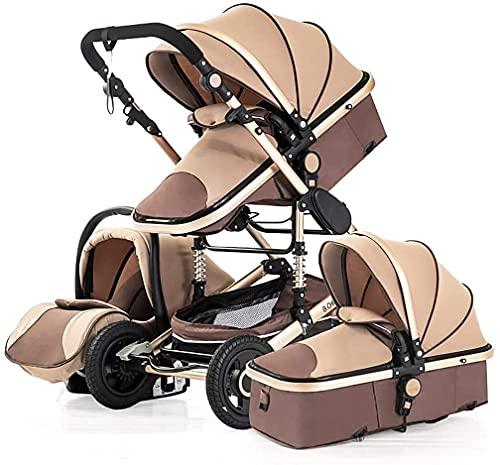 3 en 1 cochecito de bebé, cochecito infantil de alto paisaje y cochecito de cuna reversible, almacenamiento extra grande, pliegue automático y marco de aluminio ligero, con titular (Color : Marrón)