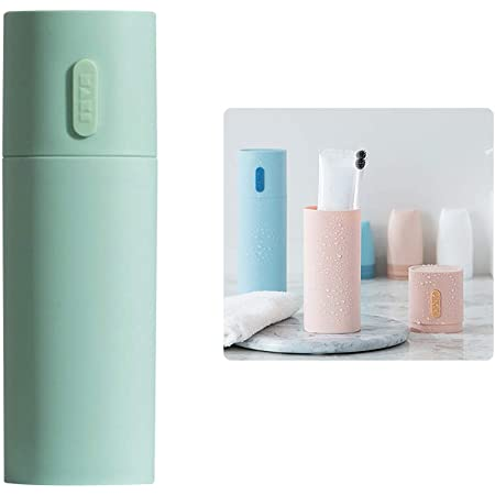 WhatUneed - Portaspazzolino da viaggio, porta dentifricio portatile, porta spazzolini da denti da campeggio, in plastica, per coppia di accessori da bagno, colore: verde