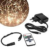 kwmobile LED Draht Lichterkette 20m - Warmweiße Beleuchtung mit Netzteil und...