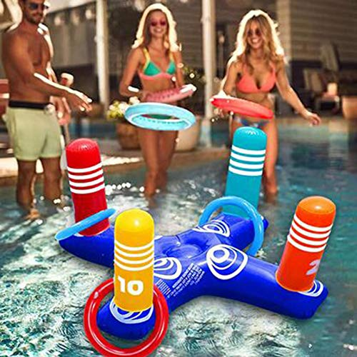 Inflatable Pool Ring Toss Pool Game Toys Floating Swimming with 4 Pcs Rings for Multiplayer Water Pool Game Kid Family Pool Toys Beach Outdoor for Adults (Blue)