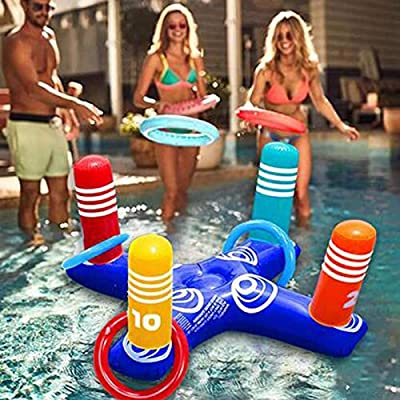 Amazon - Save 80%: Inflatable Pool Ring Toss Pool Game Toys Floating Swimming with 4 Pcs Rings…
