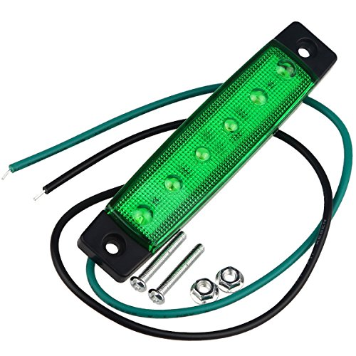 WELSUN 2X Diodes de l'ampoule 6 DE Côté de la Lampe de marqueur Latéral de Bâti de Surface de Camion de remorque de Vert de 3W, Lumières de courtoisie de Bateau Marin LED