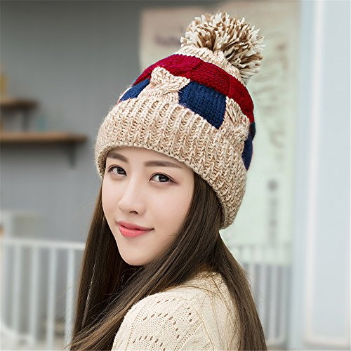 MONEYY Chapeau d'hiver Lady coréen Version de Peluche épaississement Mignon Chapeau de Sort d'automne Hiver Protecteur d'oreille Chaude Bonnet tricoté, C