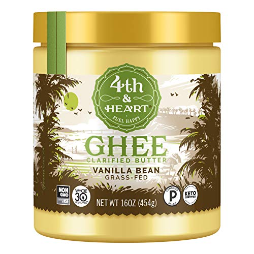 Vanilla Bean Grass-Fed Ghee Butter by 4th & Heart, 16 Ounce, Keto, Pasture Raised, Non-GMO, Lactose Free, Certified Paleo & Whole 30 Approved