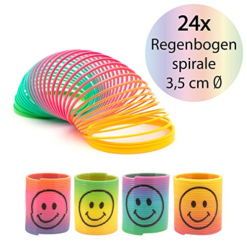 L+H Regenbogenspirale klein im 24er Set | Premium QUALITÄT | 3,5 cm Ø | Bunte magische Smilie Slinkys in Neonfarben | ideal geeignet für den Kindergeburtstag als Mitgebsel für Mädchen und Jungen