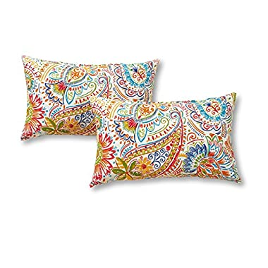 Greendale Home Fashions Rectangle Outdoor Accent Pillows in Painted Paisley (Set of 2), Jamboree