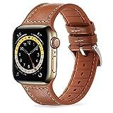 Tasikar Correas Compatible con Correa Apple Watch 44mm 42mm, Diseño de Silicona de Cuero Correa de Repuesto para Apple Watch SE Series 6/5/4 (44mm) Series 3/2/1 (42mm), Marrón