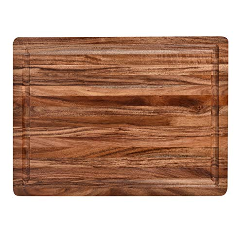 """Acacia Wood Cutting Board with Juice Grooves(16"""" x 12"""" )- Wooden Chopping Board for Meat, Vegetables, Fruit & Cheese"""