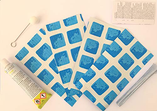 acquaverde Kit di Riparazione Piscine Ultra Frame Rotonde Rettangolari Toppe + Colla 10114 14x8 Cm