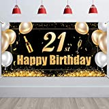 HOWAF Extra Large 21st Birthday Photo Booth Backdrop Background Banner, Fabric 21st Birthday Sign Poster Background for 21st Birthday Party Decorations Black and Gold, 5.93.05ft