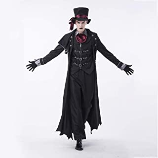 Halloween Dresses Men Earl Vampire Costume, Devil Dress Up, Zombie Suit Cosplay Costumes Game Suit Adult Fancy Dress Costumes, Male and Female Lovers, Suitable for All Kinds of Activities,Black-XL