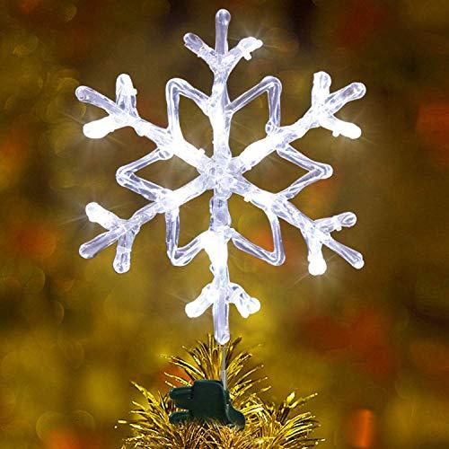 EAMBRITE 24cm Baumspitze Weihnachten 18 kühle weiße LED Schneeflocken Weihnachtsbaum Doppelseitig Weihnachtsdeko Weiß Netzbetrieben Weihnachtsdekoration