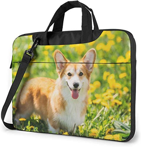 Corgi and Yellow Flowers Laptop Shoulder Messenger Bag, 15.6 Inch Multi-Functional Notebook Sleeve Carrying Case with Strap & Trolley Belt for Lenovo Acer Dell Lenovo Hp Samsung Ultrabook Chromebook