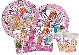 Ciao-Kit Party Tavola Winx Tynix per 8 persone (44 pezzi Ø23cm, 8 piatti Ø20cm, 8 bicchieri, 20 tovaglioli 33x33cm), Single, Multicolore, Y4956