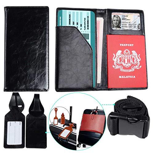 xeyou - Funda de piel para pasaporte con 2 etiquetas de equipaje y correa de equipaje a juego