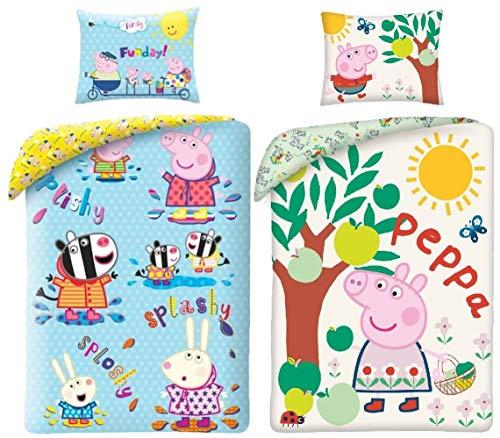 rainbowFUN.de Peppa Pig - Juego de cama reversible (2 unidades, algodón, funda nórdica de 140 x 200 cm, funda de almohada de 70 x 90 cm), diseño de Peppa Pig