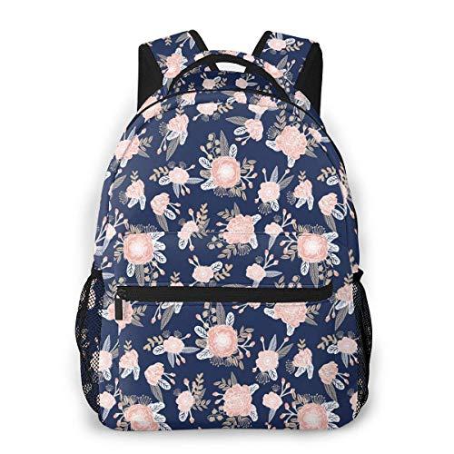 IUBBKI Pink Floral Unisex Backpacks with Adjustable Padded Shoulder Straps Casual Backpack