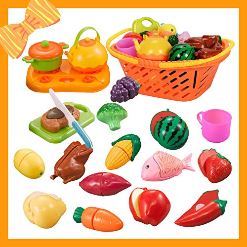 NextX Pretend Play Food Toys for Girls and Boys, Kitchen Cutting Fruits & Vegetables Set with Storage Basket for Kids