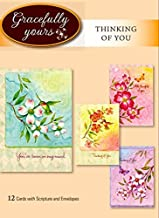 Gracefully Yours 16 Grace to You Thinking of You Greeting Cards Featuring Tina Wenke, 4 Designs/3 Each with Scripture Message, 6 5/8