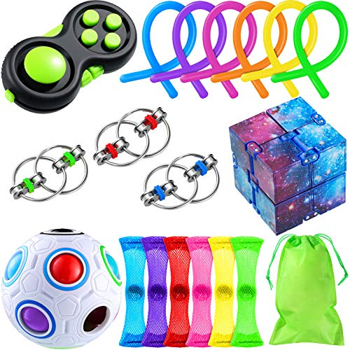 21 Pieces Handheld Fidget Toy Set Key Flippy Chain Infinity Cube Pea Pod Marble Net Cube Pad Rainbow Puzzle Ball Storage Bag Calming Toys Fidgeting Game for OCD ADHD Autism for Boys Girls Adults