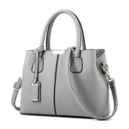 Covelin Women's Top-handle Cross Body Handbag Middle Size Purse Durable Leather Tote Bag Grey