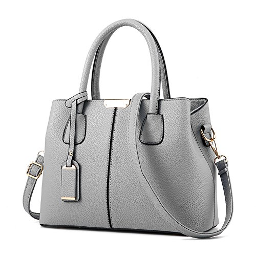 Covelin Women's Top-handle Cross Body Handbag Middle Size Purse Durable Leather Tote Bag Grey