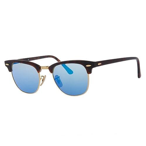16d6f4c927 Ray-Ban CLUBMASTER - SAND HAVANA GOLD Frame GREY MIRROR BLUE Lenses 51mm Non