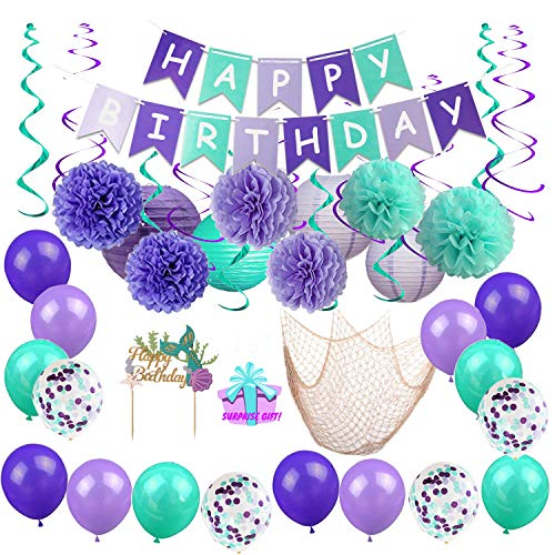 BYpamco Mermaid Party Decorations for Girls Mermaid Party Supplies Mermaid Banner Balloons Lanterns Fish Net Pom Poms Cake Toppers Under The Sea Blue & Purple Nautical Decor